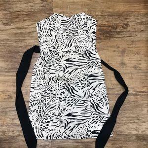 Strapless mini dress. Abstract Zebra print. Size 8